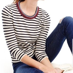NWT J Crew Jeweled Neck Tippi Striped Sweater M
